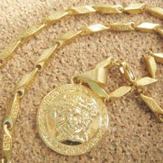 Lantisor inox - Lant medalion inox placat model Versace Medusa= 60 ron