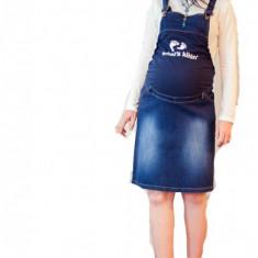 Haine Gravide - Fusta salopeta din jeans pentru gravide FSJ S (40) MaJore