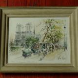 tablou cu  rama din lemn si sticla - peisaj citadin - semnat !!!!
