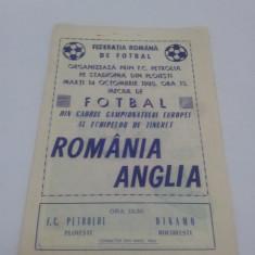 PROGRAM FOTBAL ROMÂNIA ANGLIA 1980/ STADIONUL F.C. PETROLUL - Program meci