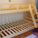 Pat dormitor, Dublu, Pat colt - PAT SUPRAETAJAT DIN LEMN MASIV DE MOLID 90/120x200cm