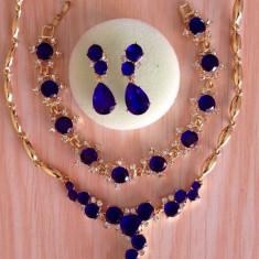 Set bijuterii placate cu aur - Set filat in aur de 18 k cu cristale austriene