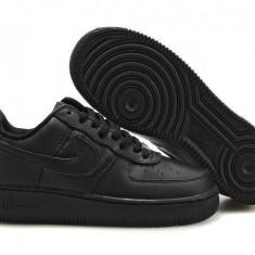 Adidasi Nike Air Force one LOW Unisex Negri - Adidasi barbati Nike, Marime: 37, Culoare: Negru, Piele sintetica