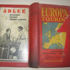 EUROPA TOURING, 1937 // NUMEROASE HARTI // CONTINE SI ROMANIA - Harta Turistica