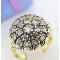 Vechi Inel aur 18k, diamante - Inel diamant, Culoare: Galben