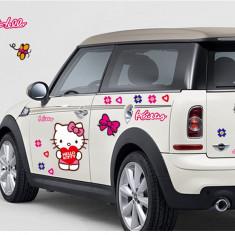 Tapet copii, Galben - Sticker Hello Kitty Decoratiune Perete Masina Autocolant Camera Copilului