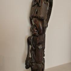 ARTA TRIBALA AFRICANA - STATUETA CU PERSONAJE SUPRAPUSE - LEMN DE TEK -DEOSEBITA - Arta din Africa
