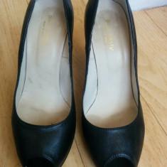 Pantofi din piele cu platforma marimea 39, sunt noi! - Pantof dama Buffalo, Culoare: Negru, Piele naturala