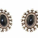 Cercei argint masivi clips, anturaj onix negru, design modernist Mexic statement