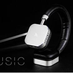 Casti audio stereo fara fir cu bluetooth si microfon, HOCO, sunet HIFI, silver - Casti Telefon, Argintiu, In ureche, Conectivitate bluetooth: 1, Comenzi pe fir: 1