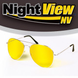 Ochelari de soare, Galben, Pilot - Ochelari Stil Pilot de Condus Noaptea si pe Ceata cu Protectie UV