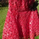 Rochie de seara - Rochie rosie scurta din dantela