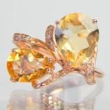 Inel diamant, 46 - 56 - Inel aur rose 14k, 2.80ct Lemon Quartz, 1.70 ct Citrine si diamante SUPERB !