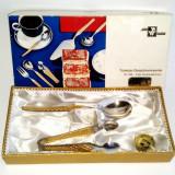Argint, Cleste - Set lingurita si cleste pentru zahar - placate cu aur - Wirths Bestecke