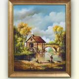 Pescar - pictura peisaj din natura, ulei pe panza, cu rama, 51x41cm - Pictor roman, An: 2015, Peisaje, Altul