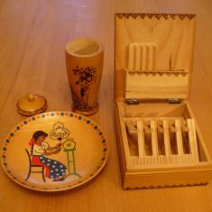 Lot piese artizanat romanesc, obiecte din lemn, comunism, epoca de aur