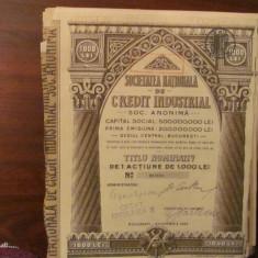 PVM - Titlu Nominativ 1 actiune 1000 lei SOCIETATEA NATIONALA CREDIT INDUSTRIAL, Romania 1900 - 1950