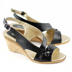 Sandale dama cu platforma din piele naturala Negru mas. 36 - Lichidare de stoc!