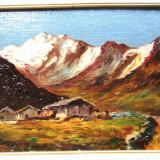 Tablou pictori straini, An: 1933, Natura, Ulei, Realism - TABLOU 1933 PEISAJ MUNTE PICTURA ULEI PE PANZA RAMA SEMNAT A. MONET