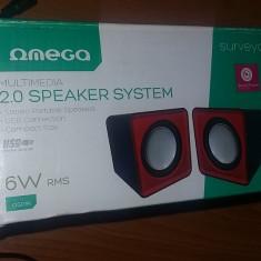 BOXE OMEGA, MULTIMEDIA 2.0 SPEAKER SYSTEM 6W RMS, STEREO .