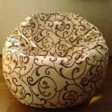 accesoriu mobila - Husa crem/maron pentru fotoliu puf, detasabila, lavabila, din material textil