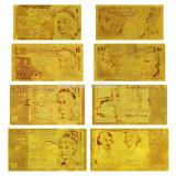 Bancnota Straine, Europa, An: 2010 - Lot Bancnote Anglia placat cu aur 5 pounds 10 pounds 20 pounds 50 pounds