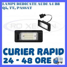 SET LAMPI NUMAR INMATRICULARE AUDI A4 (B8), A5, S5, Q5, TT, PASSAT 5D, R36 - Led auto ZDM, Universal