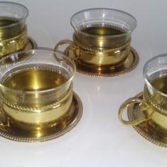 Set 4 cesti yena pentru servire ceai - JENA er GLAS SHOT MAINZ - anii '70
