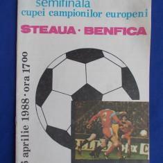PROGRAM MECI FOTBAL STEAUA-BENFICA/SEMIFINALA C.C.E - 6 APRILIE 1988