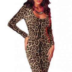 F453-99 Rochie sexy, model animal print, decoltata in V la spate - Rochie de club, Marime: M