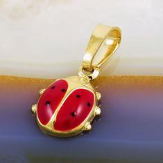 Pandantiv placate cu aur - Pandantiv model Buburuza, Placat cu Aur 18k, cod 361