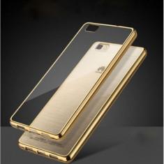 Husa HUAWEI Ascend P8 Lite TPU Margine Gold - Husa Telefon Huawei, Transparent, Gel TPU, Fara snur, Carcasa