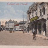 PLOIESTI, SALUTARI DIN PLOIESTI, CIRCULATA AUG.''917 - Carte Postala Muntenia 1904-1918, Ploiesti, Circulata, Printata