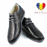 Pantofi barbati lux - casual din piele naturala negri cu siret