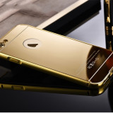 Husa/Carcasa Slim iPhone 6/6s Plus LUX GOLD Oglinda din Aluminiu, Acrylic, iPhone 6 Plus, Auriu