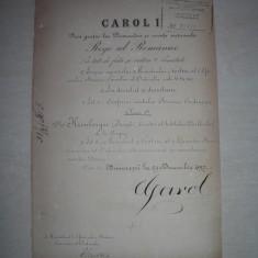 BREVET, SEMNAT DE REGELE CAROL I SI DIMITRIE STURDZA, 1897, BUCURESCI