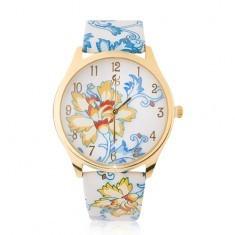 Ceas de mână auriu, motiv floral albastru cu galben - Ceas dama