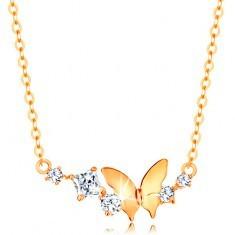 Colier din aur 585 - lanț fin, fluture și arcadă compuse din zirconii strălucitoare transparente - Colier aur