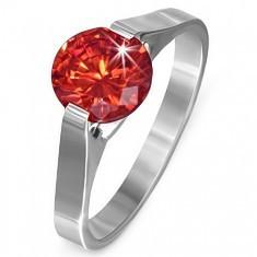 Inel din oțel - piatră rubin