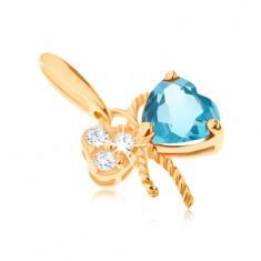 Pandantiv de aur 585 - fundă decorată cu topaz albastru şi zirconii transparente - Pandantiv aur
