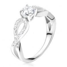 Inel cu ştras rotund, transparent, bucle din zirconiu, argint 925 - Inel argint