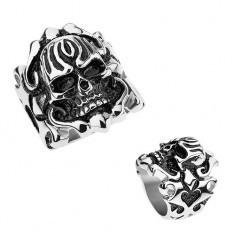 Inel patinat din oţel, craniu rotunjit, ornamente pe braţe - Inel argint