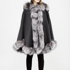 Poncho Capa Cashmere 100% Blana Naturala Vulpe Argintie One Size Gri - Jacheta dama, Culoare: Negru