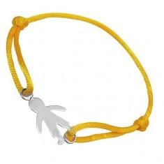 Brățară argint 925 - băiat pe șnur galben