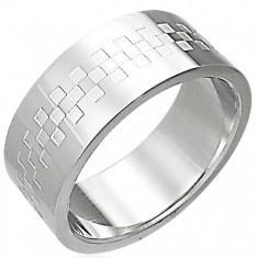 Inel strălucitor din oțel inoxidabil cu tablă de șah - Inel inox