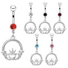 Piercing pentru buric din oțel - o inimă cu coroană și zirconiu - Piercing buric