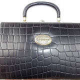 Poseta/ geanta din piele vintage Gianni Versace originala - Geanta vintage