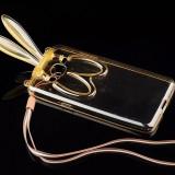 Husa cu urechi de iepuras si snur samsung galaxy s5 - auriu - Husa Telefon, Transparent