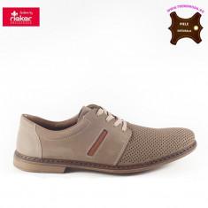 Pantofi barbati piele naturala RIEKER bej (Marime: 40)