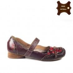Pantofi dama casual din piele naturala FELICIA bordo (Marime: 37) - Pantof dama